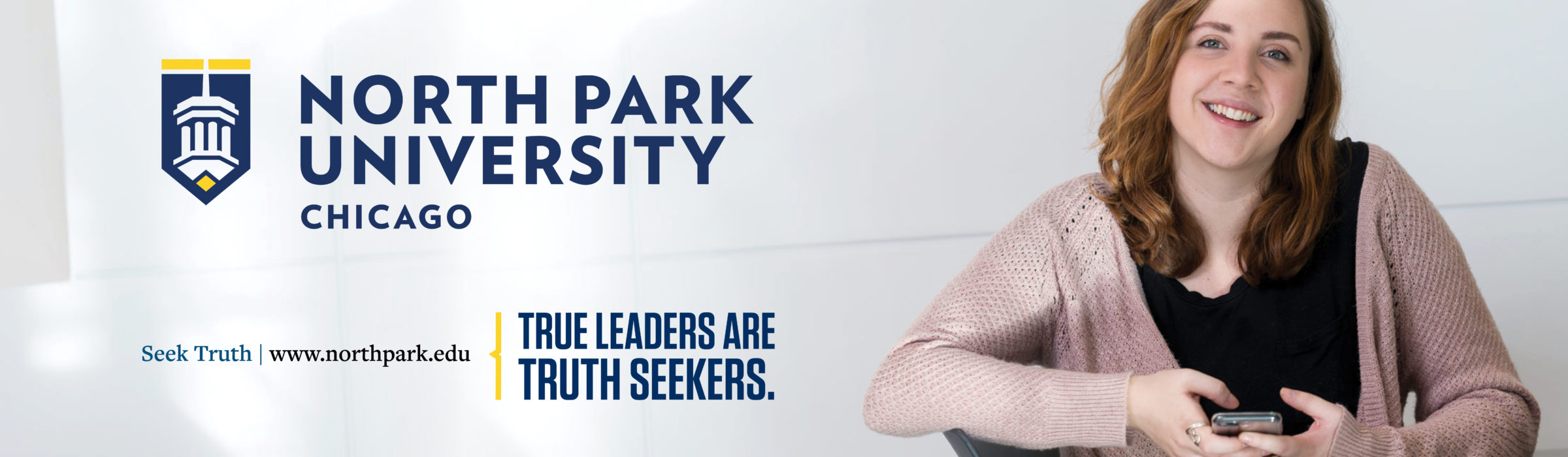 """""""True Leaders are Truth Seekers."""" billboard ad with female student"""