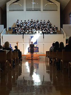 University Choir sings in Anderson Chapel