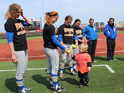 Zeke Dixon with the Viking softball team